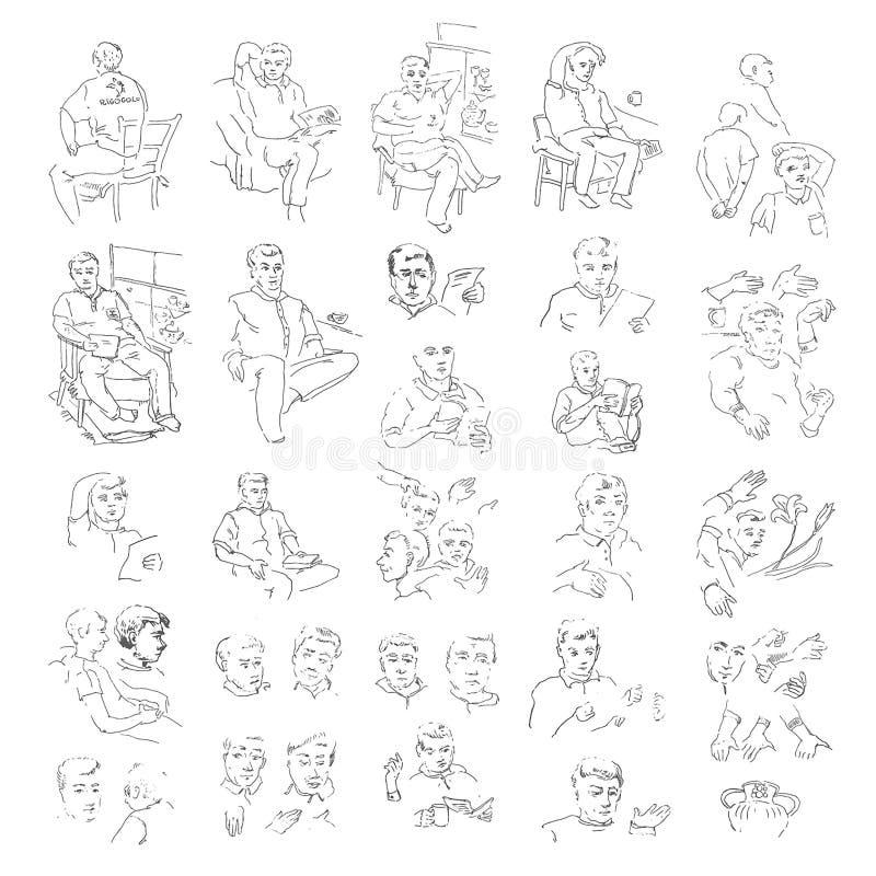 Ensemble tiré par la main d'illustration d'icône de croquis de l'homme Noir sur le fond blanc illustration stock