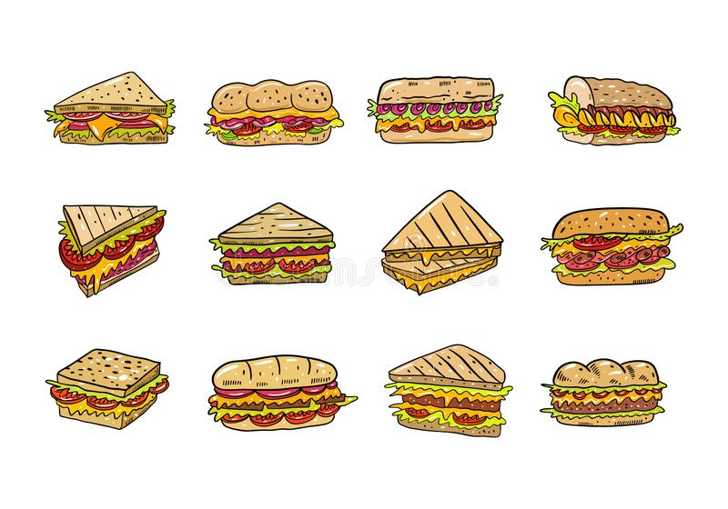 Ensemble tiré par la main d'illustrtion de vecteur de sandwich Type de dessin anim? D'isolement sur le fond blanc photos libres de droits