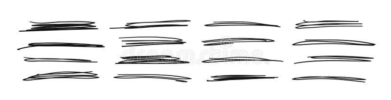 Ensemble tiré par la main d'objets pour l'usage de conception Le griffonnage noir de vecteur a biffé des lignes sur le fond blanc illustration stock