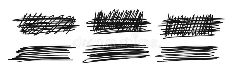 Ensemble tiré par la main d'objets pour l'usage de conception Le griffonnage noir de vecteur a biffé des lignes sur le fond blanc illustration de vecteur