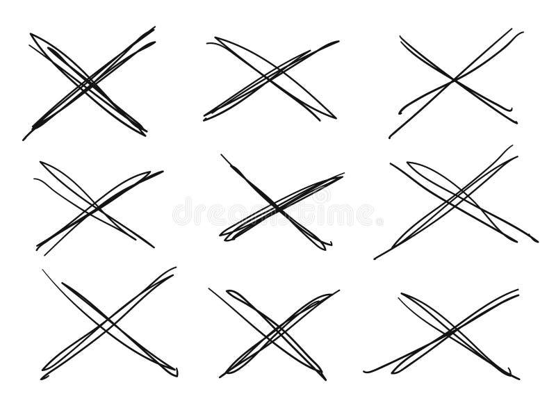 Ensemble tiré par la main d'objets pour l'usage de conception Lignes croisées de griffonnage noir de vecteur sur le fond blanc Ra illustration de vecteur