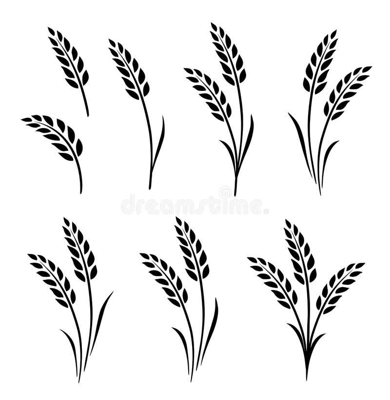 Ensemble tiré par la main d'oreilles abstraites noires de blé illustration libre de droits