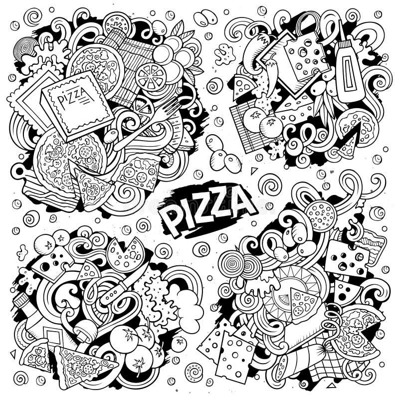 Ensemble tiré par la main de bande dessinée de griffonnages de vecteur de schéma des mélanges de pizza illustration de vecteur