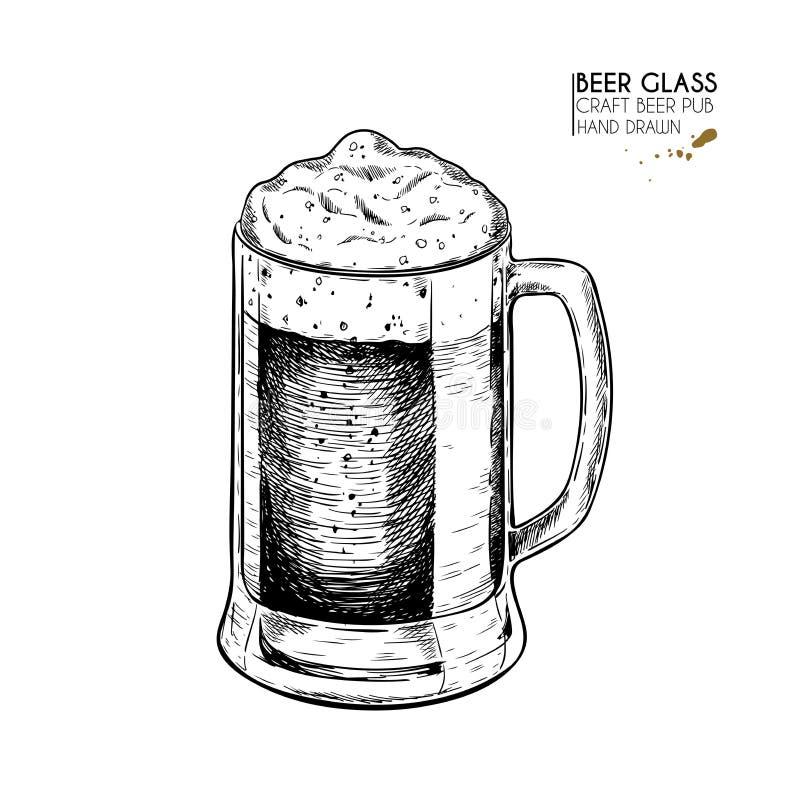 Ensemble tiré par la main de bière Tasse de bière en verre de vecteur Oktoberfest a gravé des icônes Boissons et nourriture d'alc illustration de vecteur