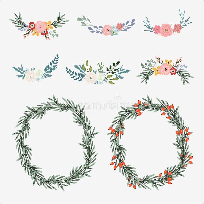 Ensemble tiré par la main de bouquets floraux et de guirlande avec les feuilles olives, les roses, les pivoines et d'autres fleur illustration de vecteur