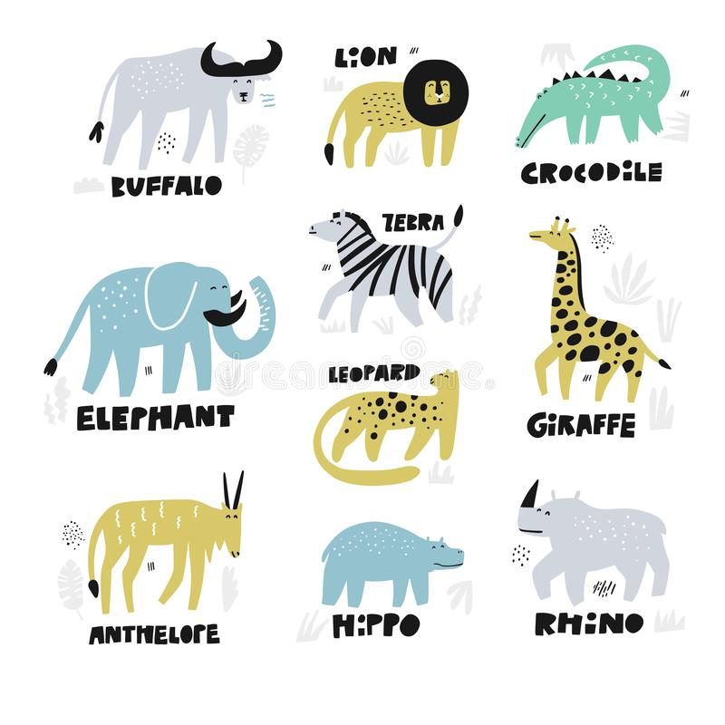 Ensemble tiré par la main de caractères d'animaux africains illustration stock