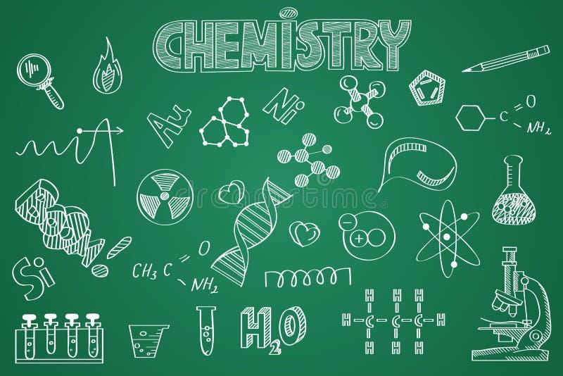 Ensemble tiré par la main de chimie Craie sur le tableau noir illustration de vecteur