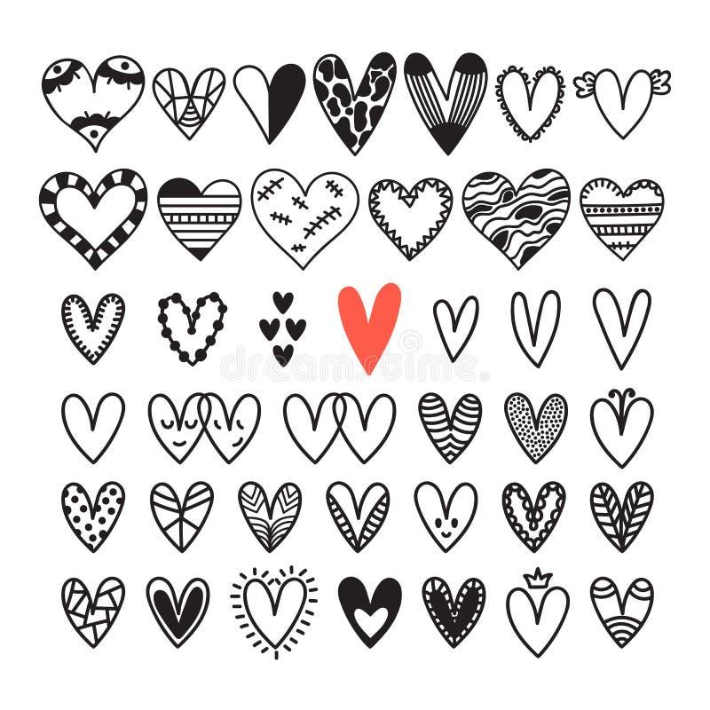 Ensemble tiré par la main de coeurs Esquissez la collection pour la conception de jour de épouser ou de ` s de Valentine Éléments illustration de vecteur