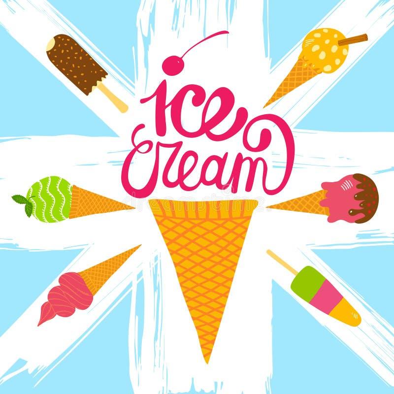 Ensemble tiré par la main de crème glacée  illustration de vecteur