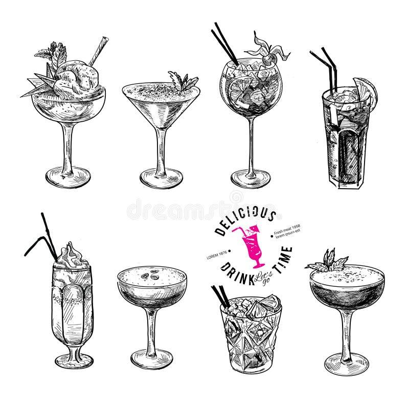 Ensemble tiré par la main de croquis de cocktails alcooliques illustration de vecteur