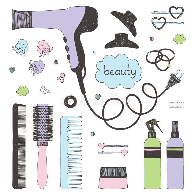 Ensemble tiré par la main de dénommer de cheveux Sèche-cheveux, brosses à cheveux, pulvérisateurs et scrunchy Soin de beauté de s illustration de vecteur