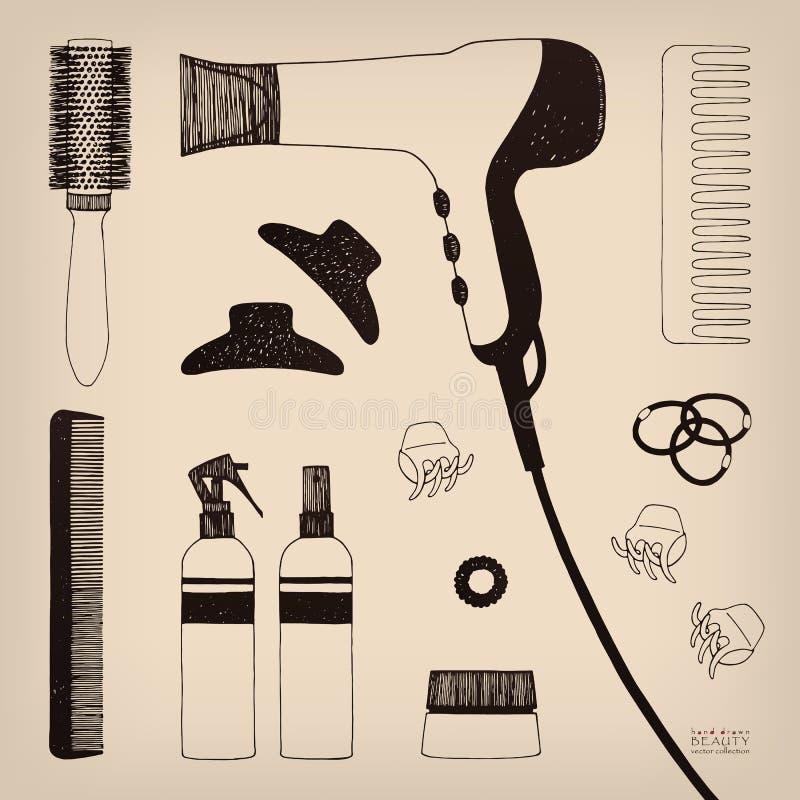 Ensemble tiré par la main de dénommer de cheveux Sèche-cheveux, brosses à cheveux, pulvérisateurs et scrunchy Soin de beauté de s illustration libre de droits