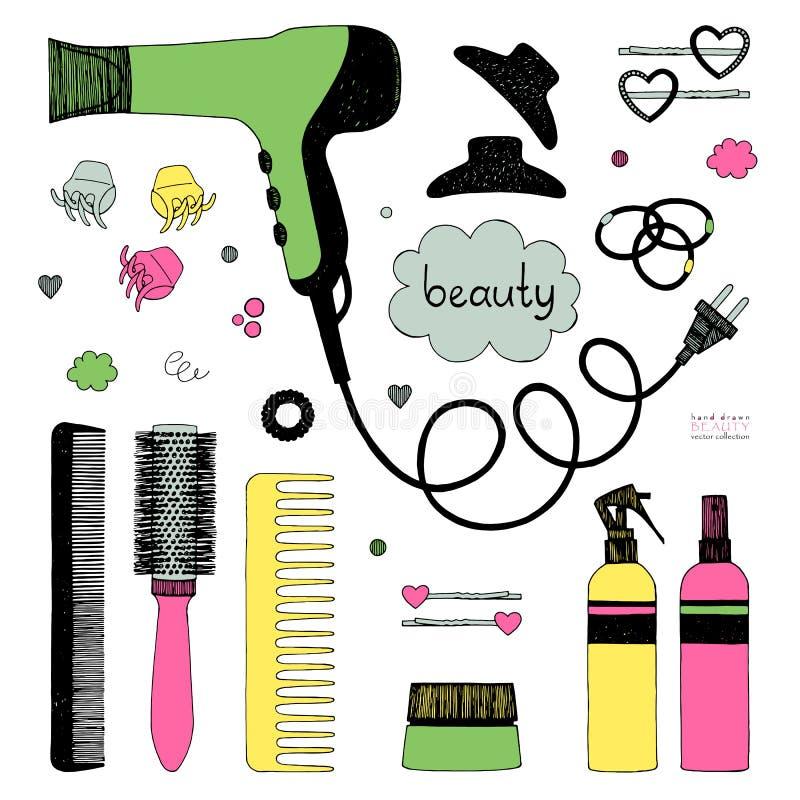 Ensemble tiré par la main de dénommer de cheveux Sèche-cheveux, brosses à cheveux, pulvérisateurs et scrunchy Soin de beauté de s illustration stock
