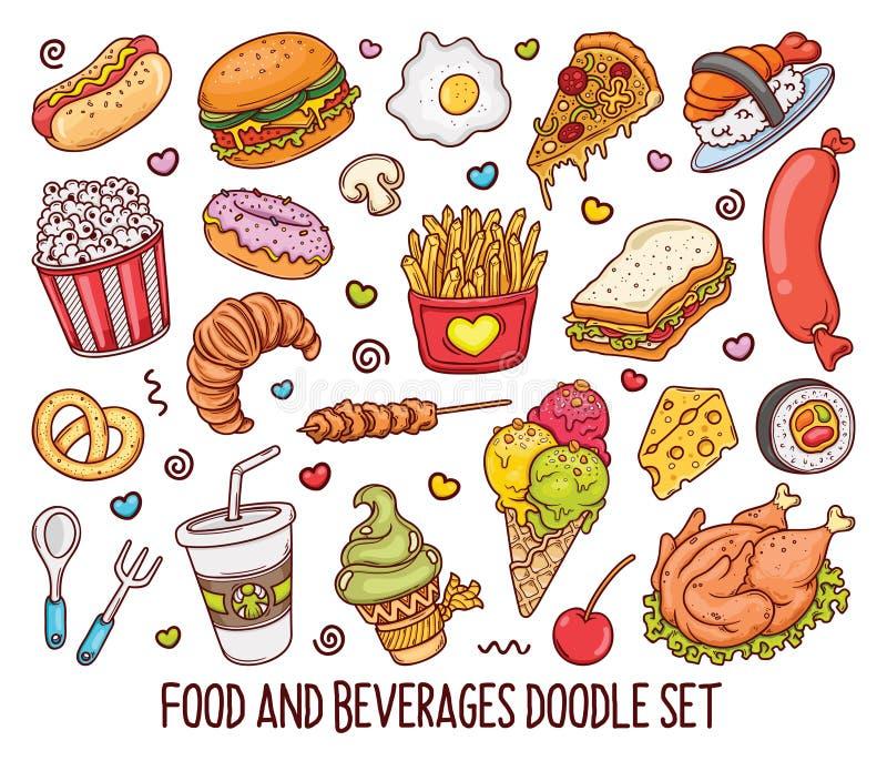 Ensemble tiré par la main de griffonnages de nourriture de couleur dans vector-01 illustration stock