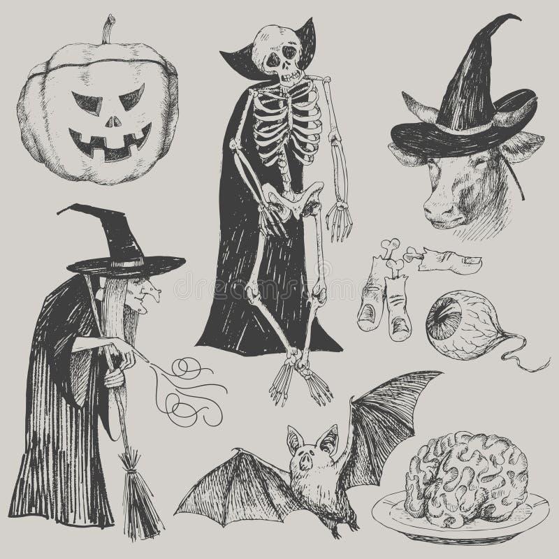 Ensemble tiré par la main de Halloween de vecteur Illustration de cru image libre de droits