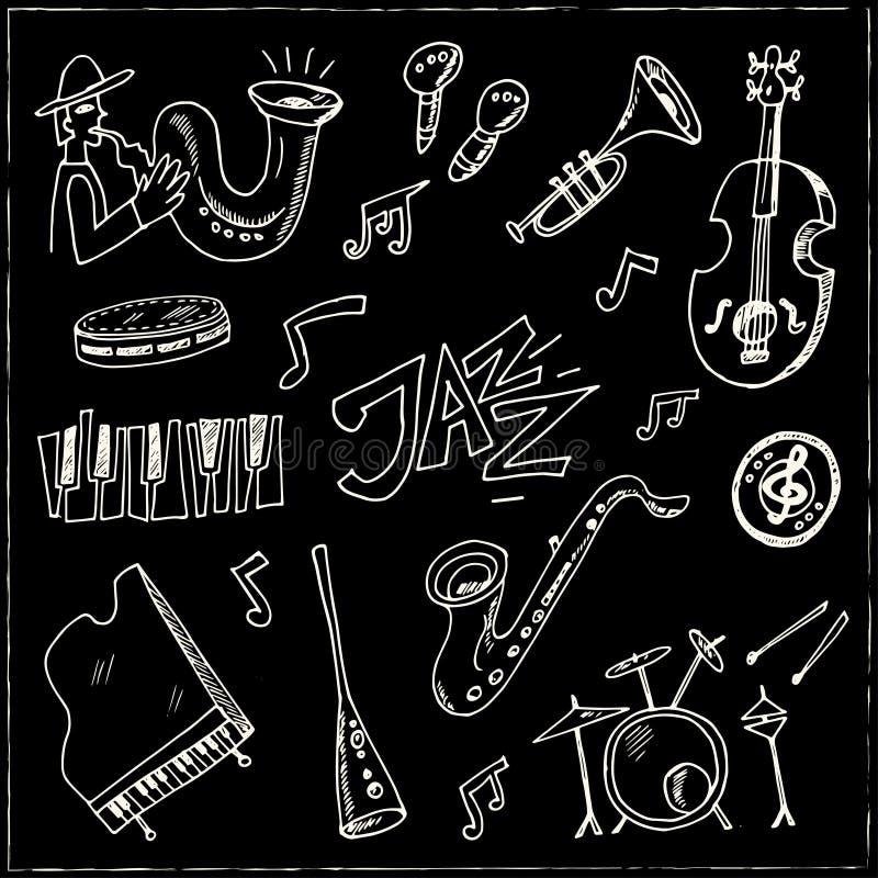 Ensemble tiré par la main de jazz de griffonnage illustration stock