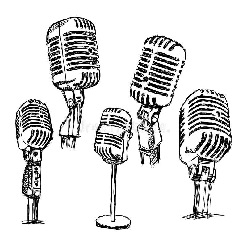 Ensemble tiré par la main de microphone de griffonnage de vecteur d'illustration rétro, infos illustration de vecteur