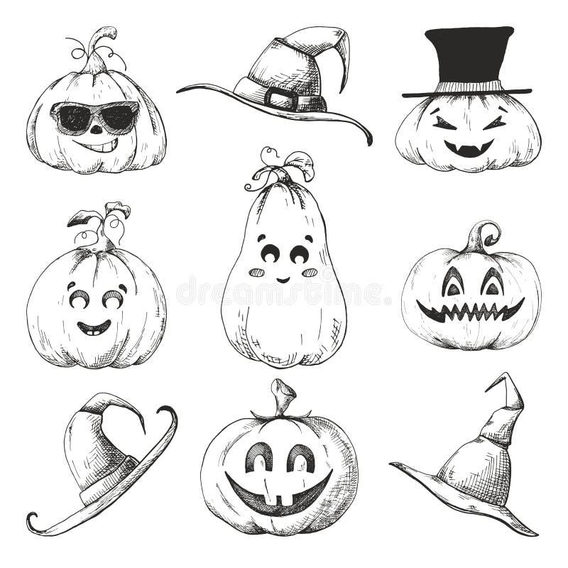 Ensemble tiré par la main de potirons pour Halloween Illustration de vecteur illustration stock