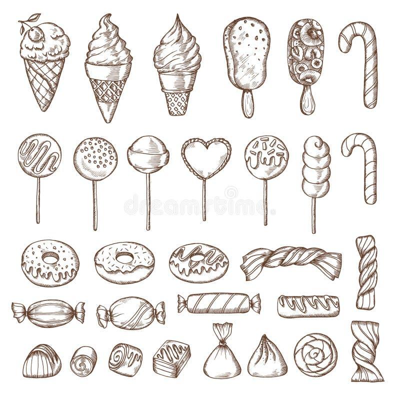 Ensemble tiré par la main de sucreries, de bruits de gâteau, de crème glacée et de butées toriques Rétro illustration de vecteur  illustration stock