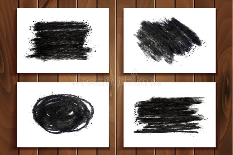 Ensemble tiré par la main de texture de craie de charbon de bois illustration stock