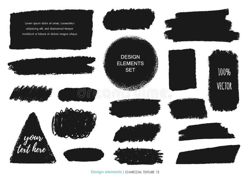 Ensemble tiré par la main de texture de craie de charbon de bois illustration libre de droits