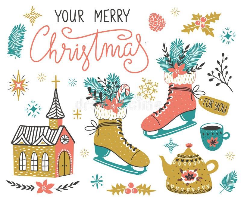 Ensemble tiré par la main de vecteur d'éléments de conception de Noël avec le lettrage - ` votre ` de Joyeux Noël illustration libre de droits