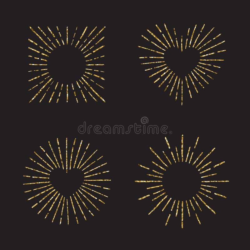 Ensemble tiré par la main de vecteur de scintillement d'or de rayon de soleil Partie quatre illustration de vecteur