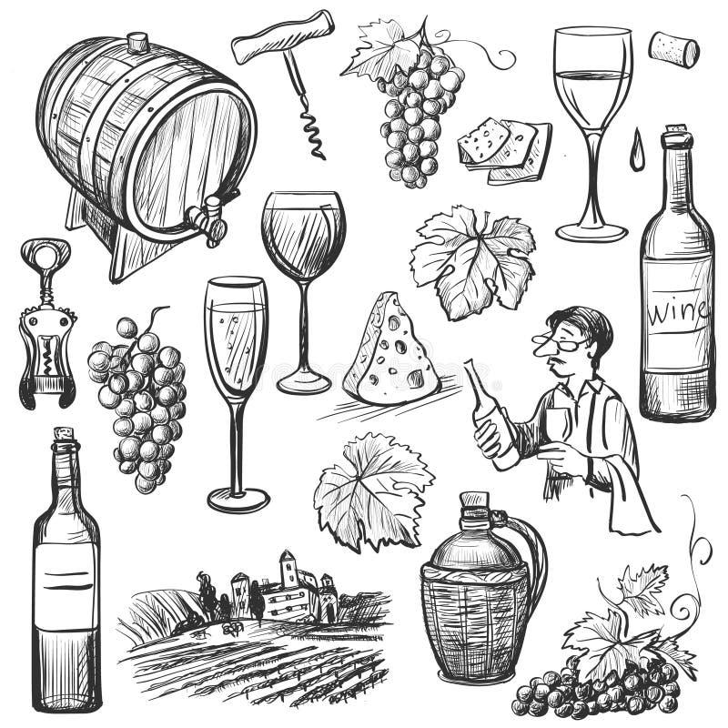 Ensemble tiré par la main de vin de vecteur de croquis illustration libre de droits