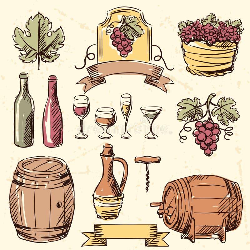 Ensemble tiré par la main de vintage de vin illustration libre de droits