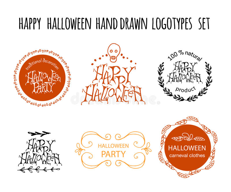 Ensemble tiré par la main heureux de logotype de vecteur de Halloween illustration stock
