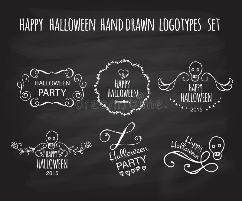 Ensemble tiré par la main heureux de logotype de vecteur de Halloween illustration libre de droits