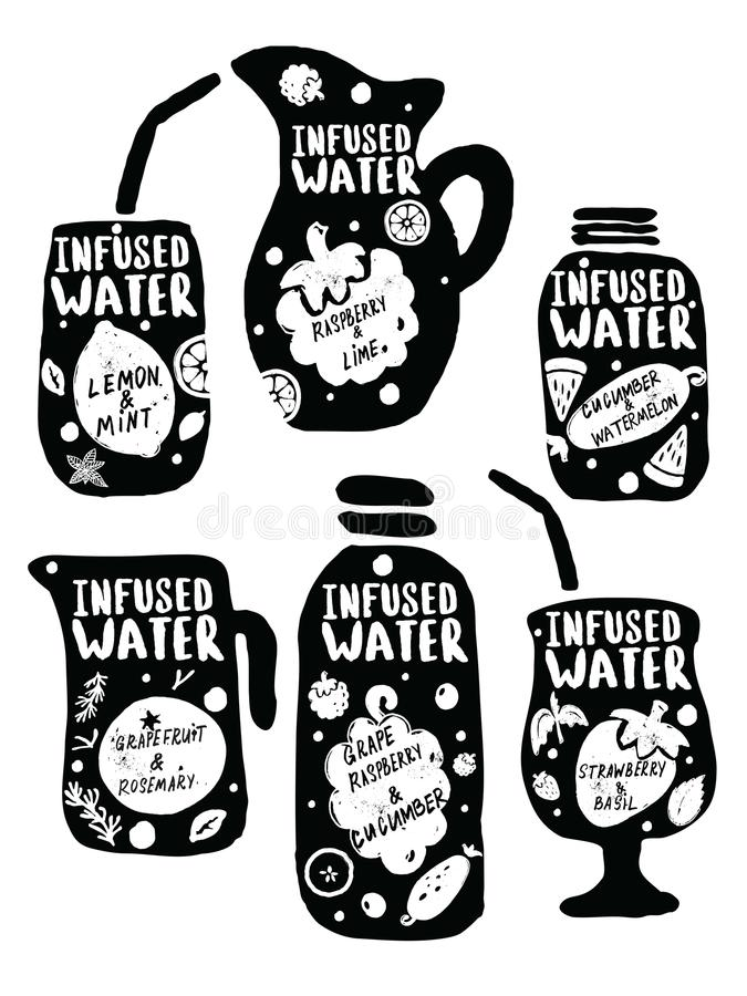 Ensemble tiré par la main infusé de l'eau Dirigez l'illustration des verres avec les boissons et le lettrage de fruits illustration stock