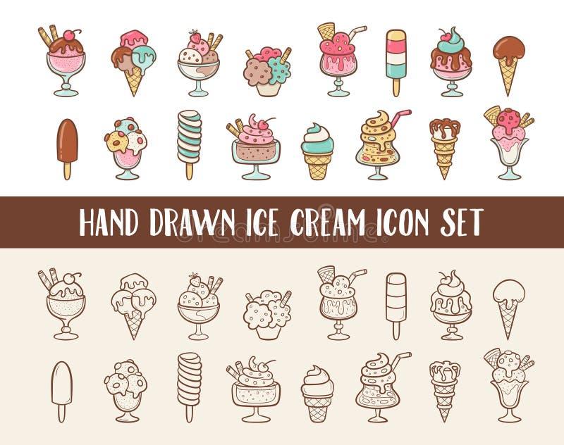Ensemble tiré par la main mignon d'icône de crème glacée  illustration stock