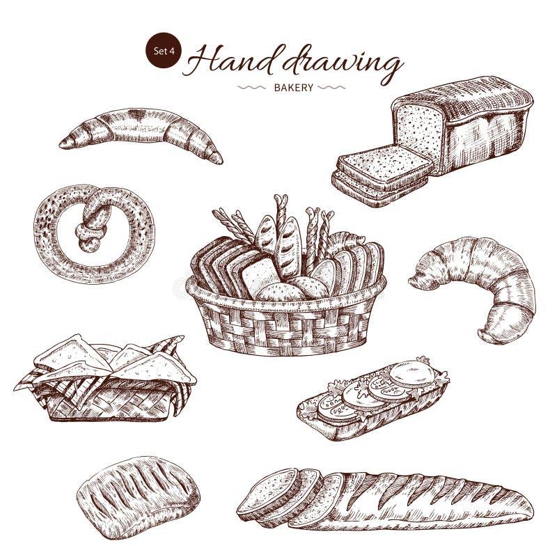 Ensemble tiré par la main monochrome de boulangerie illustration libre de droits