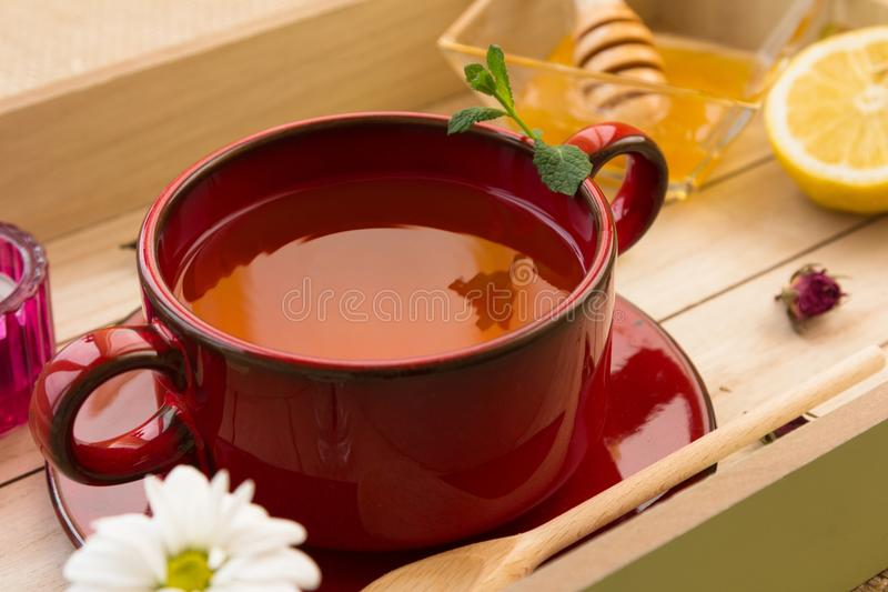 Ensemble tonique de procédé de préparation de thé de Rose photo stock