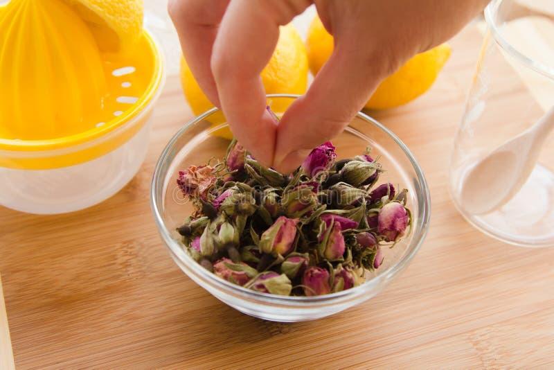 Ensemble tonique de procédé de préparation de thé de Rose images stock