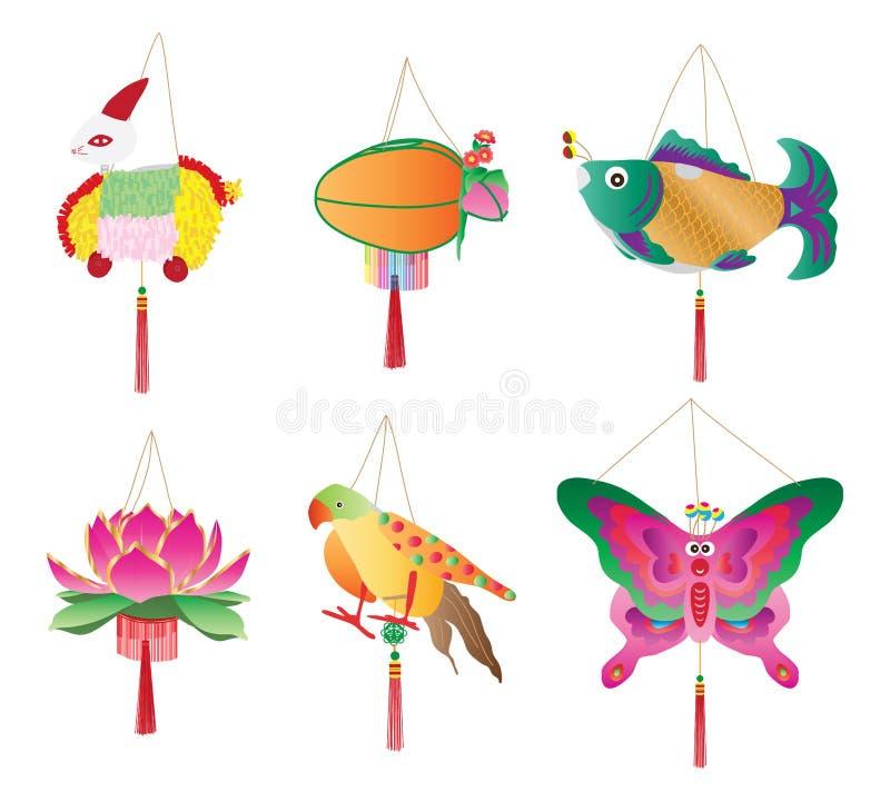 Ensemble traditionnel de lanterne de festival de lune illustration stock