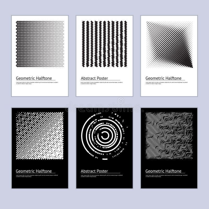 Ensemble tramé abstrait moderne de conception d'affiche Vecteur illustration stock