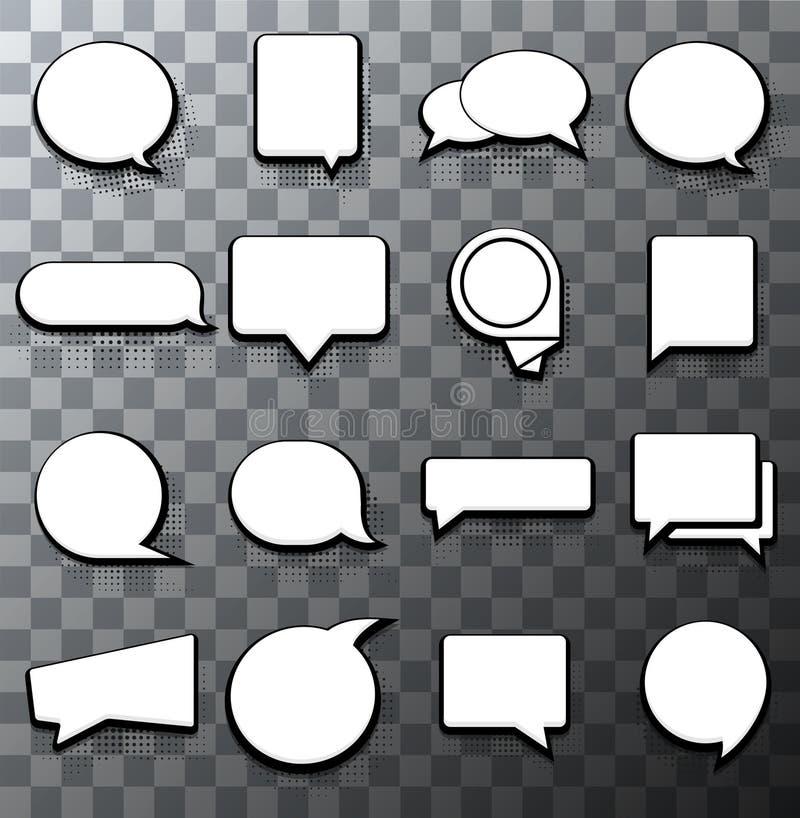 Ensemble tramé moderne d'icône de la parole de bulle de vecteur illustration de vecteur