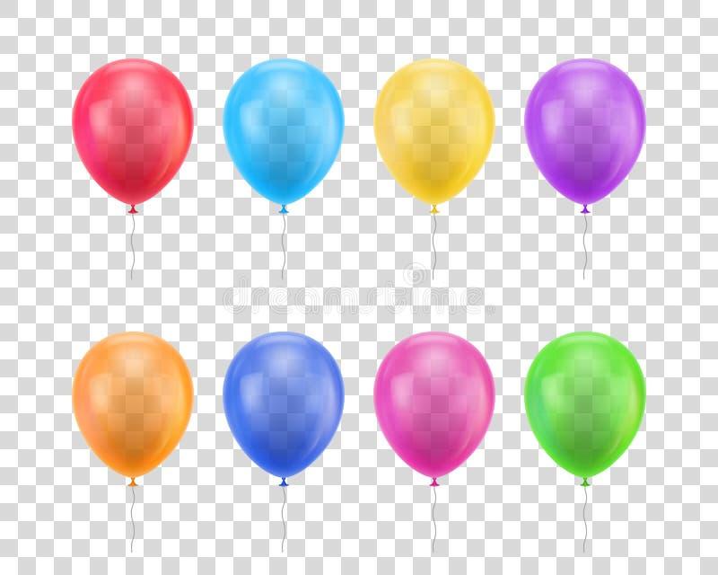 Ensemble transparent de fond de différentes couleurs de ballons illustration libre de droits
