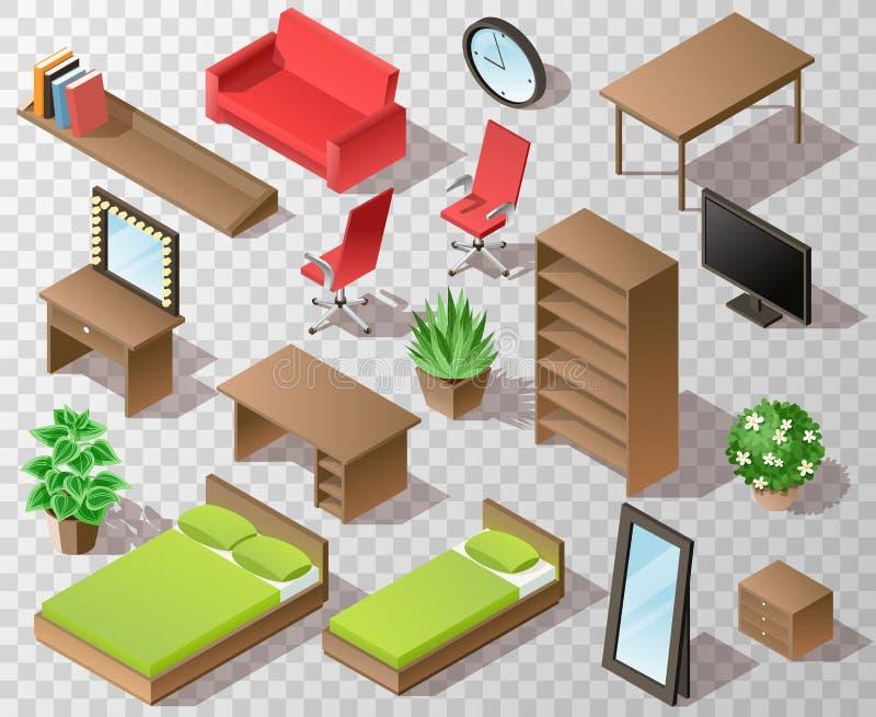 Ensemble transparent de meubles isométriques Meubles isométriques de salon dans la gamme brune avec la table TV de chaise de bure illustration de vecteur