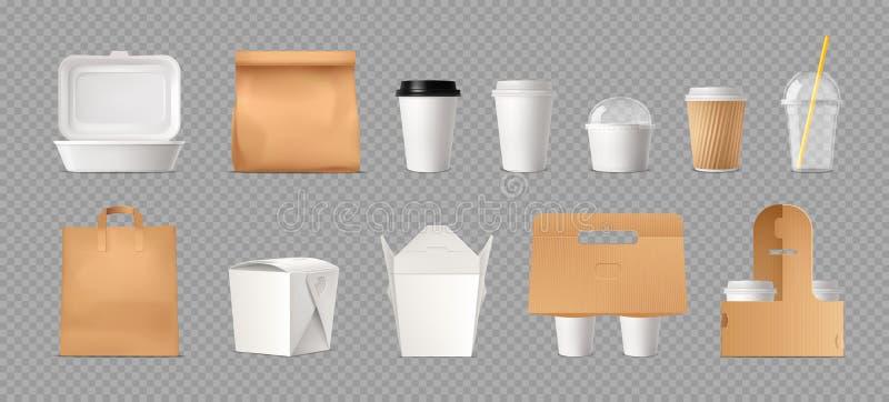 Ensemble transparent de paquet d'aliments de préparation rapide illustration stock