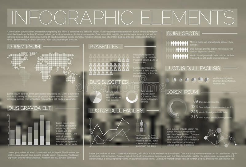 Ensemble transparent de vecteur d'éléments d'Infographic illustration stock
