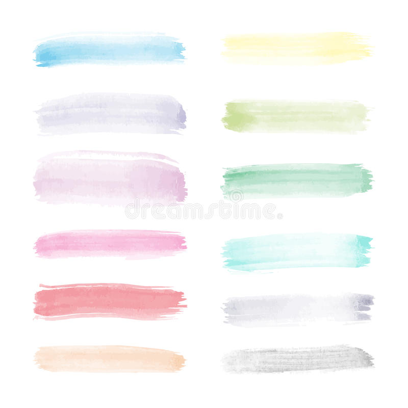 Ensemble transparent lumineux de vecteur d'aquarelle de courses de brosse dans de pleines couleurs de spectre illustration de vecteur