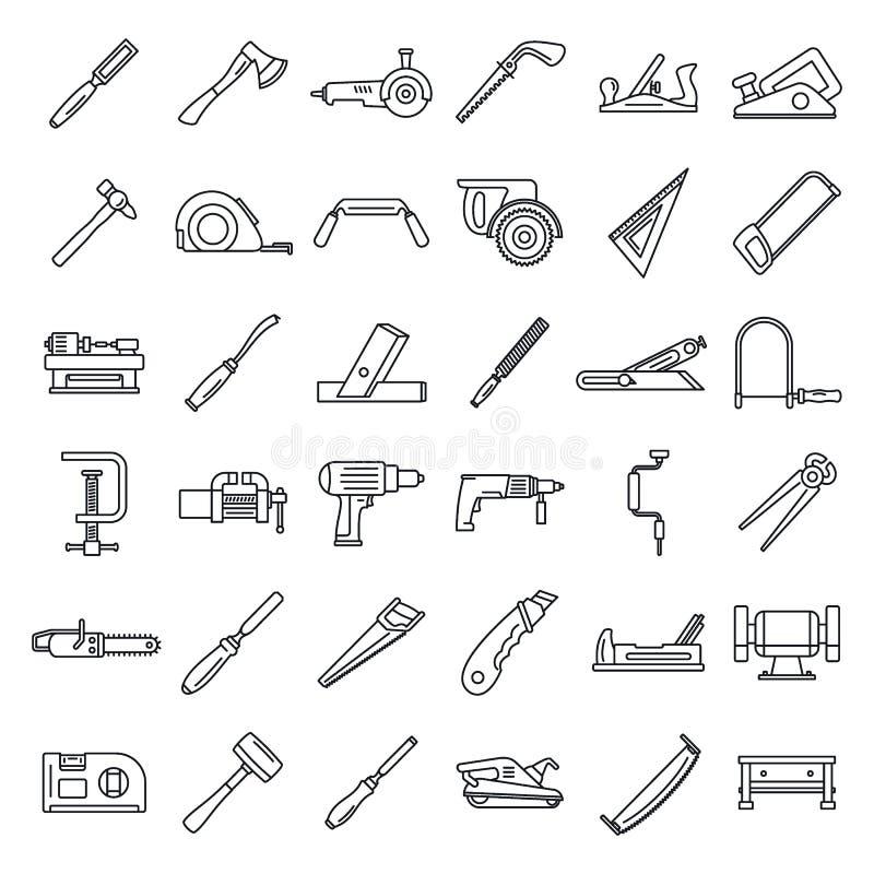 Ensemble travaillant d'icône de charpentier, style d'ensemble illustration stock