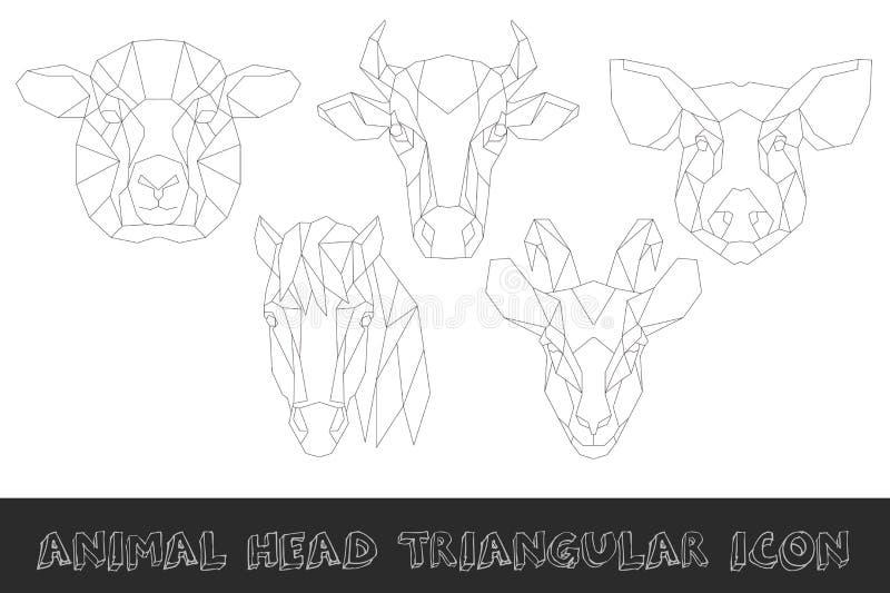 Ensemble triangulaire d'icône de tête d'animal de ferme illustration de vecteur
