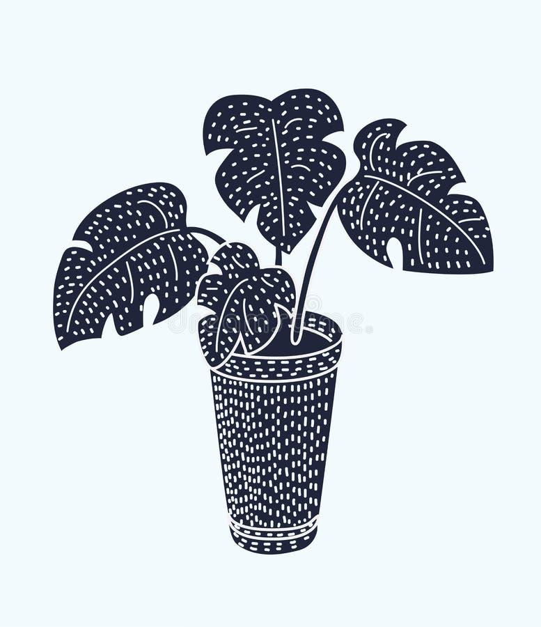 Ensemble tropical de pot d'usine de paume de maison de vecteur illustration libre de droits