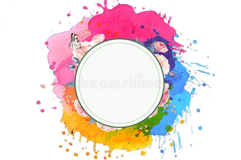 Ensemble unique multicolore de résumé artistique de couleurs avec un cercle rougeoyant à un arrière-plan blanc illustration stock