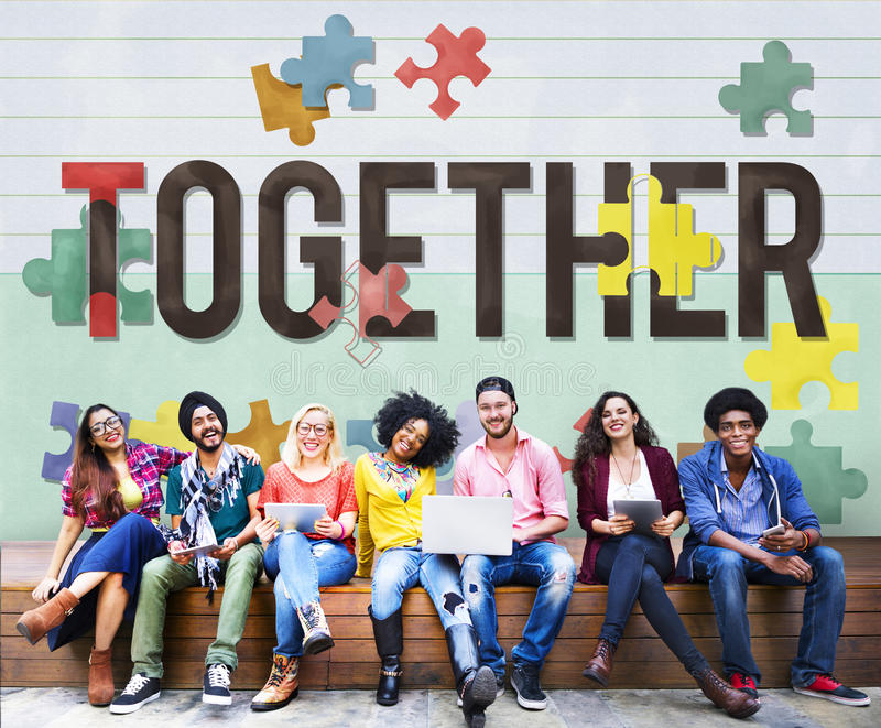 Ensemble unité Team Teamwork Connection Concept image stock