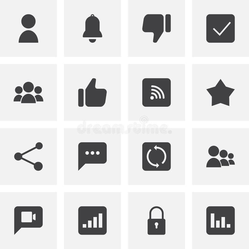 Ensemble universel d'icônes de vecteur de médias sociaux illustration libre de droits
